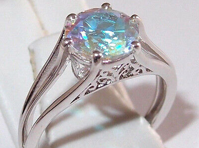 2.25ct Mercury Mystic Topaz solitaire, platinum overlay Sterling Silver, Size M.