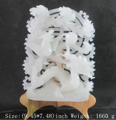 pure natural handmade Afghanistan white jade carving longfeng statue