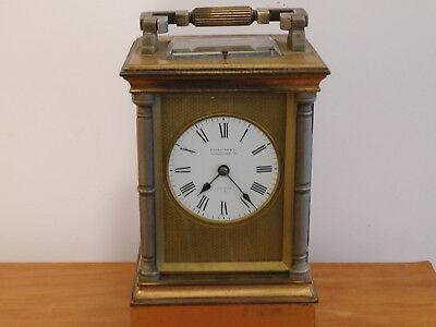 Antique Fusee Repeating 8 Day Carriage Clock Signed Elkington & Co, London.
