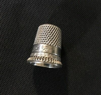 Antique STERLING MKD Ketcham McDougale Sewing Child's THIMBLE Sz 5 Fluted Edge