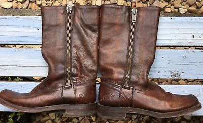 Frye Women's Brown Leather Zippered Squared Toe Boots Size  7 1/2 B