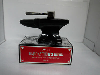 AVON VINTAGE BLACKSMITH'S ANVIL DECANTER with DEEP WOODS AFTER SHAVE RARE