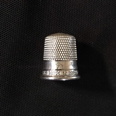 Antique Sterling SIMONS BROTHERS Sewing THIMBLE Sz 7 Simple Design