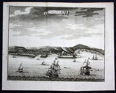 1726 Kannur Cannanore India Kerala map engraving panorama view Valentijn