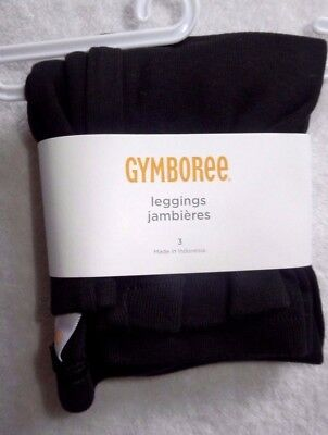 NWT 3 3T GYMBOREE Basic Girl's Black Legging Leggings 100% cotton