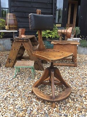 Glenister Type Artists Draughtsman Architects Wooden Swivel Chair
