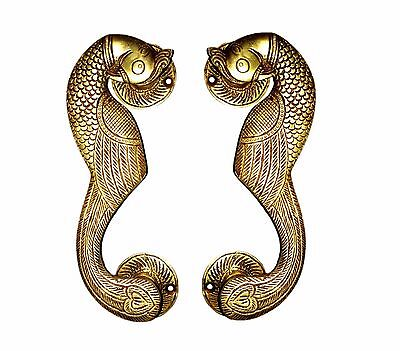 A Pair of beautiful Ethnic Brass made Curved Peacock Door Handles from INDIA