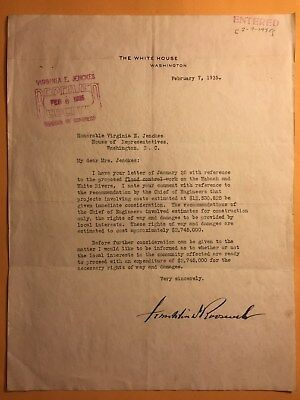 1935 Franklin Roosevelt Signed White House Letter To In. Rep Virginia Jenckes.