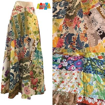 Vintage 1970s Hand Made Patchwork Maxi Skirt Festival Style Boho Chic