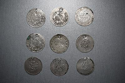 LOT of 9pcs LARGE SILVER OTTOMAN TURKISH TURKEY ISLAMIC COINS VERY RARE 27gram