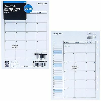 2018 Filofax A5 Size Refill 18-68510, Month On Two Pages, 148mm x 210mm