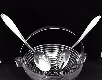 """Anchor Hocking Manhattan Clear Ribbed 7"""" Serving Bowl with Metal Handles HTF"""