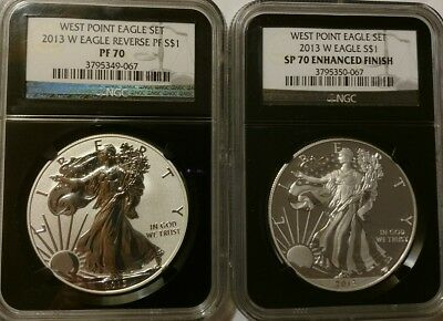 2013 American Silver Eagle West Point $1 Set NGC MS70PR70 Enhanced/Reverse Proof