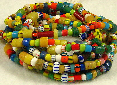 2 Long Strands Mix Mostly Glass CHRISTMAS or LOVE African Trade Beads 2 to 10mm