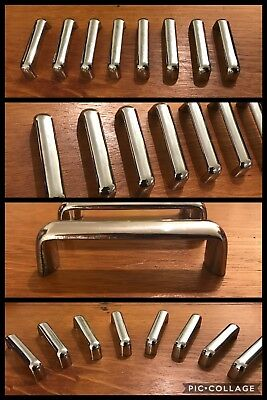 8 Handles Pulls Bar Silver Chrome Tone Cabinet Mid Century Drawer Deco Retro