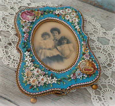 vintage 1900s italy mosaic picture frame italian micro mosaic floral 3D inlay