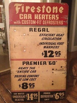 """1930's vintage FIRESTONE  Car automobile heaters advertising sign   24"""" X 42"""""""