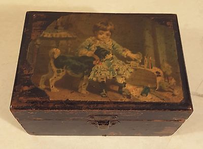 Antique Clark's Wooden Mauchline Ware Sewing Box Pincushion Thread Spool Holder