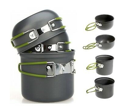 4Pcs Hiking Outdoor Camping Backpacking Cooking Picnic Cookware Bowl Pot Pan new