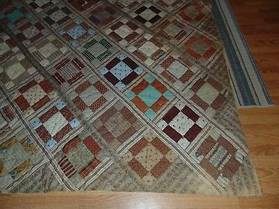ANTIQUE PRIMITIVE Quilt OLD CALICO FABRICS!