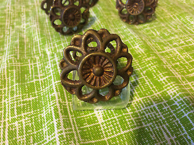 Antique Brasstone Floral Drawer Pulls Shabby Chic Set of 4