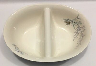 Pfaltzgraff Winter Frost Oval Divided Vegetable Bowl Serving Dish
