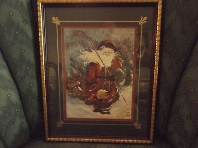 """Home Interiors Homco Victorian Santa 15"""" X 12"""" Matted Framed Holiday Picture"""