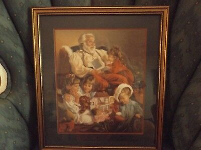 VIintage Home Interiors Santa Christmas Picture Framed and Matted