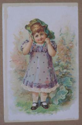 Victorian Trade Card Woolson Spice Co., Lion Coffee, Young Girl In Dress