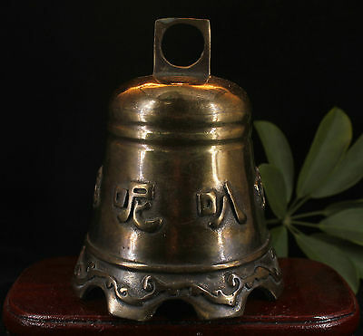 13cm Collect Chinese Buddhism Fane Old Bronze Brass Handmade Buddha Bell Statue