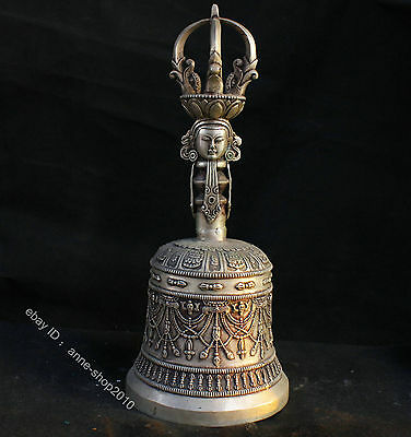 China Tibet Buddhist supplies silver Brass bronze Buddha Bell alarm bell collect