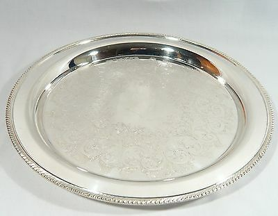 "Silver Plate 12 1/4""  Round Drinks Liquor Serving Tray WM ROGERS  Excellent C."