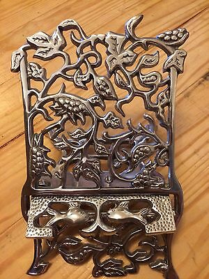 Ornate Silver Metal kitchen cookbook / tablet /bible/holder stand rack