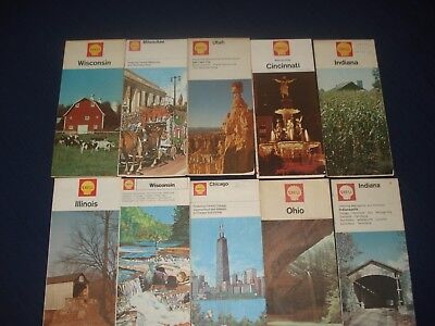 Lot Of Vintage Shell Oil & Gasoline City And State Maps