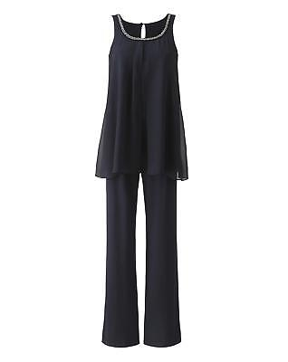Womens Nightingales Chiffon/Ity Jumpsuit in Charcoal