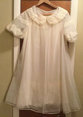 Vintage Shadowline Sheer Ivory Babydoll Robe & Nightgown Set Size Petite