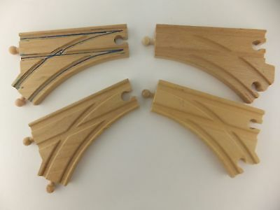 Large Y Split 3 Way Wood Track Wooden Crossing Pieces Set of 4 Fits Brio Thomas