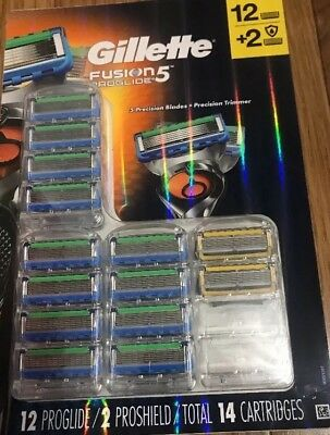 (New) Gillette Fusion 5 Proglide 12 + 2 Proshield Total 14 Cartridges