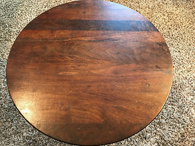 Vintage Wood & Wrought Iron Round Side Table