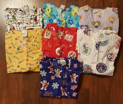 7 Piece Lot of Scrub Tops Size Small Disney Rugrats Looney Tunes Christmas