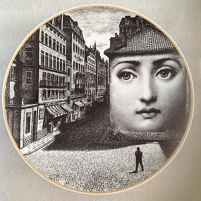 RARE FORNASETTI ROSENTHAL JULIA ceramic decorative plate gold rim