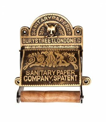 Antique Brass Toilet Paper Holder 'Sanitary Paper Co.'