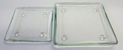 2 New Square Glass Candle Holder Dishes with Feet Home Lighting Decor Accessory