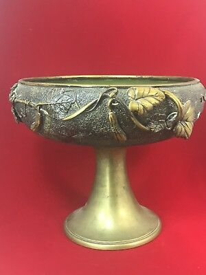 "Antique FRENCH metal PLANTER JARDINIERE CENTERPIECE Enamel Art 1800's 9 1/2"" Hi"
