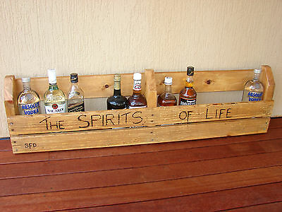 SPIRITS or WINE RACK Handcrafted from Reclaimed Timber for Bar or Mancave
