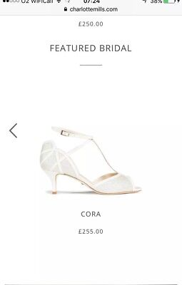 Charlotte Mills Bride shoes wedding Bridesmaid Cora RRP £250 Used Once At Weddin