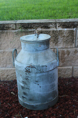 rare Vintage   Metal  dairy farmers Milk Can , with Lid
