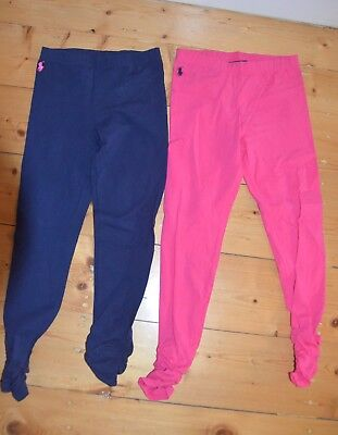 Two Polo Ralph Lauren Girls Leggings Navy And Pink Size M (8-10)