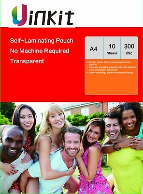 A4 Cold Self Sticky Laminating Pouch Clear Film 300 Mic -10 Sheets Uinkit