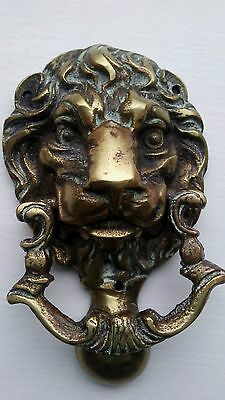 Vintage Lion Head Solid Brass Door Knocker  Architectural Antique GREAT GIFT!
